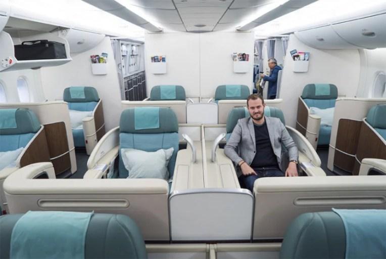 TPG in a Korean Air first class Kosmo Suite.