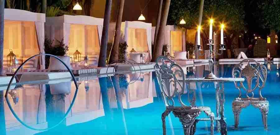 Silver furniture in the pool at the Delano Miami
