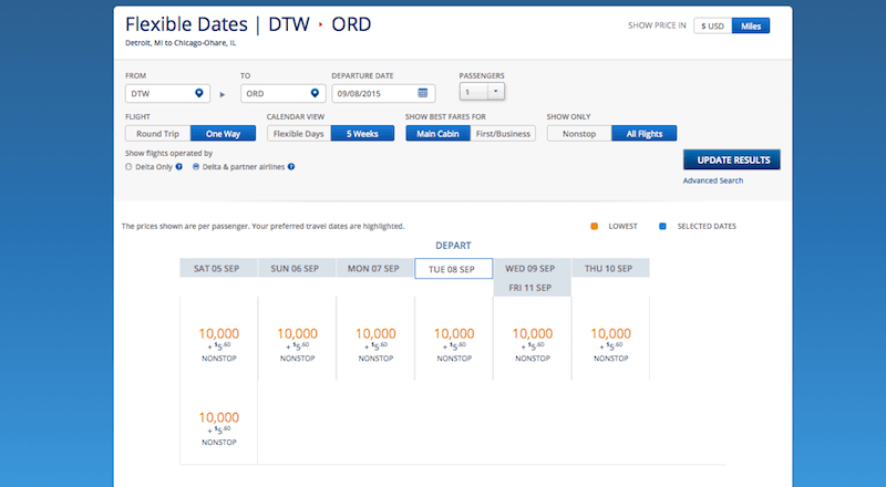 Delta DTW ORD miles