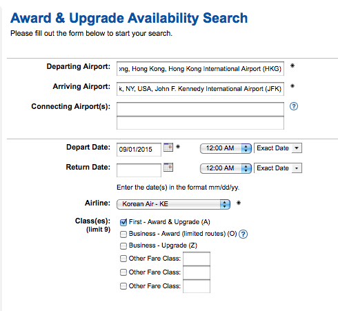 Use ExpertFlyer to search for multi-segment awards.