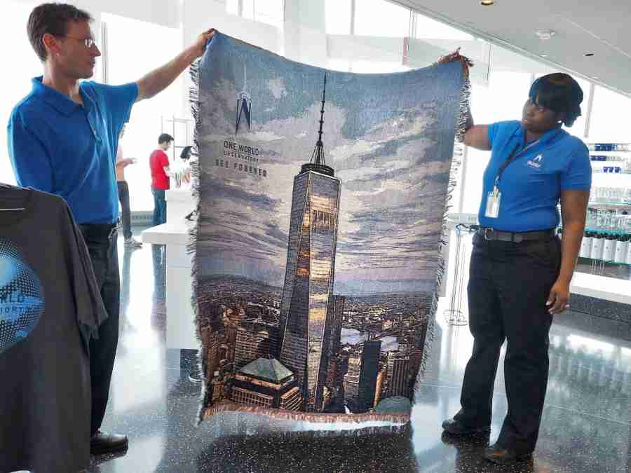 A logo throw blanket (pricing TBA) at One World Observatory.