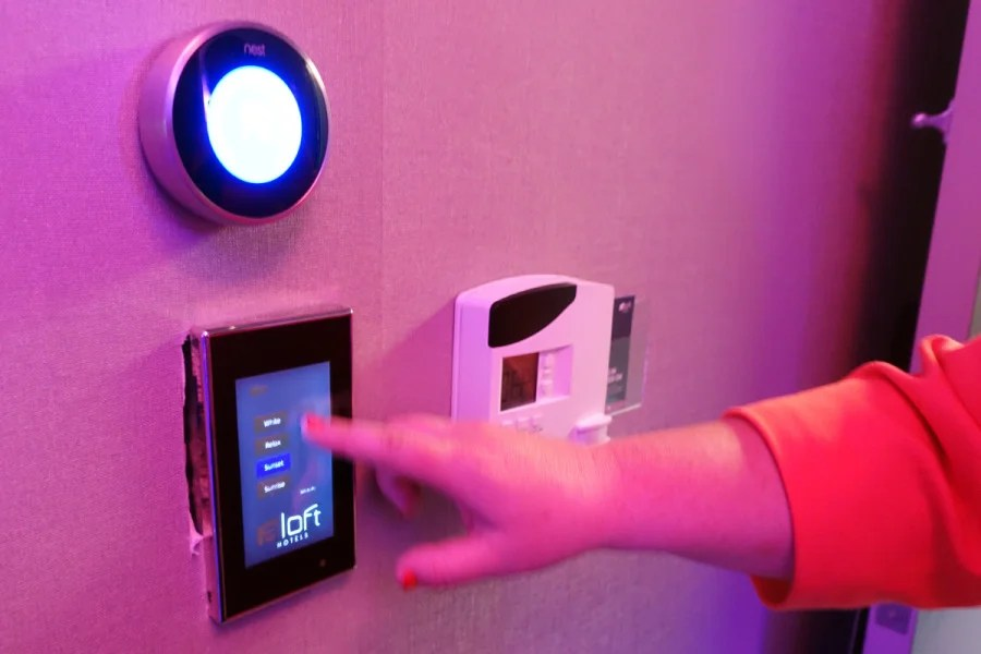 In this demo Four Points by Sheraton room, smartphone (and in-wall) lighting controls enhance the experience.