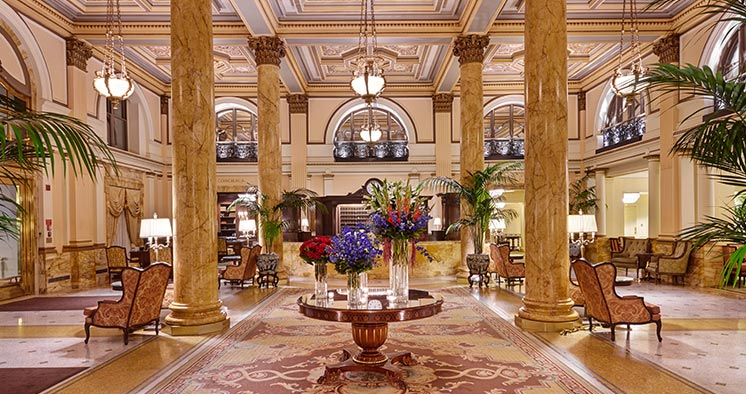 The opulent lobby of the InterContinental Willard in Washington, D.C.