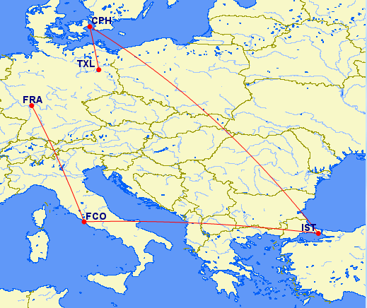 This itinerary to visit 5 European cities would cost 55,000 EVA miles.