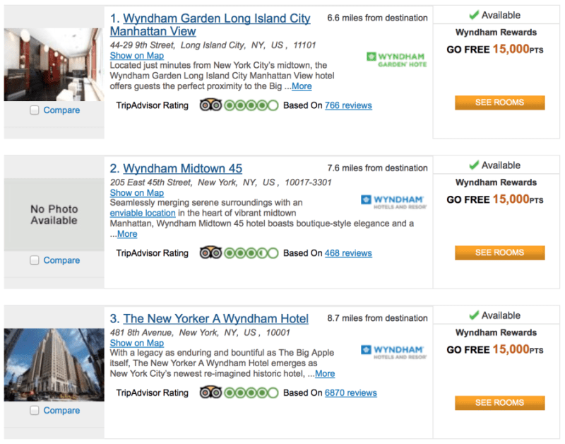 You now need only 15,000 points per night to stay with Wyndham.