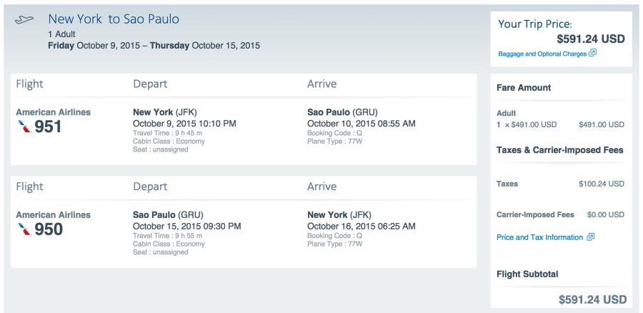 New York (JFK) to São Paulo (GRU) for $591.