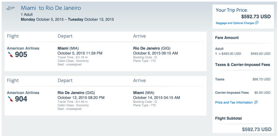 Miami (MIA) to Rio (GIG) for $593.