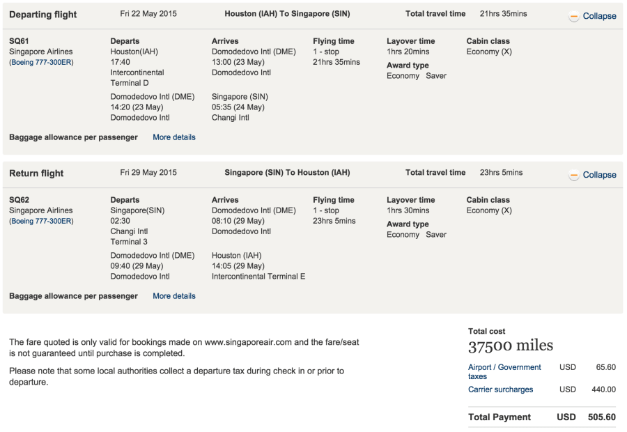 Houston to Singapore for 37,500 KrisFlyer miles.