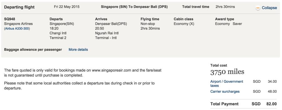 Singapore (SIN) to Bali (DPS) for 3,750 KrisFlyer miles.