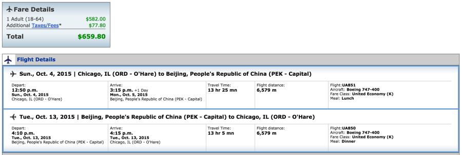 Chicago (ORD)-Beijing (PEK) for $660 on United.