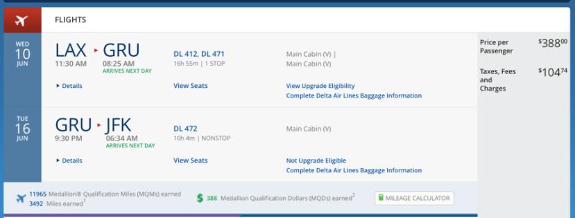 Los Angeles (LAX)-São Paulo for $492 on Delta.