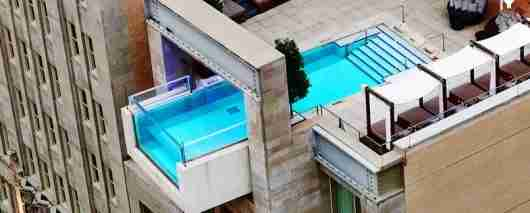 The unique pool at the Joule hotel in Dallas .