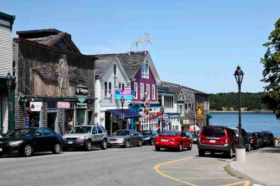 Downtown Bar Harbor, near Frenchman Bay. Photo courtesy of Shutterstock.