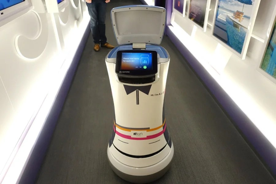 SPG's Botlr robot butler will bring you snacks and necessities, such as a shaving kit or toothbrush.