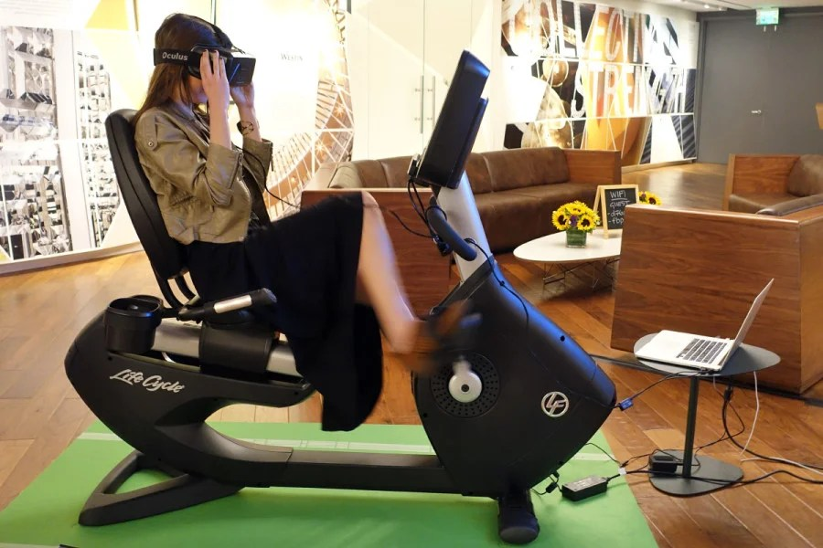 Beginning later this year, select hotel gyms may have virtual-reality gear on hand, letting you explore a bike trail in Spain as you work up a sweat in North Dakota.