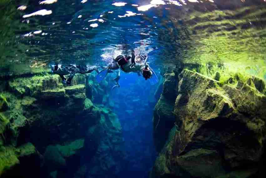 View the volcanic fissures from underwater in Iceland. Photo courtesy of Arctic Adventures.
