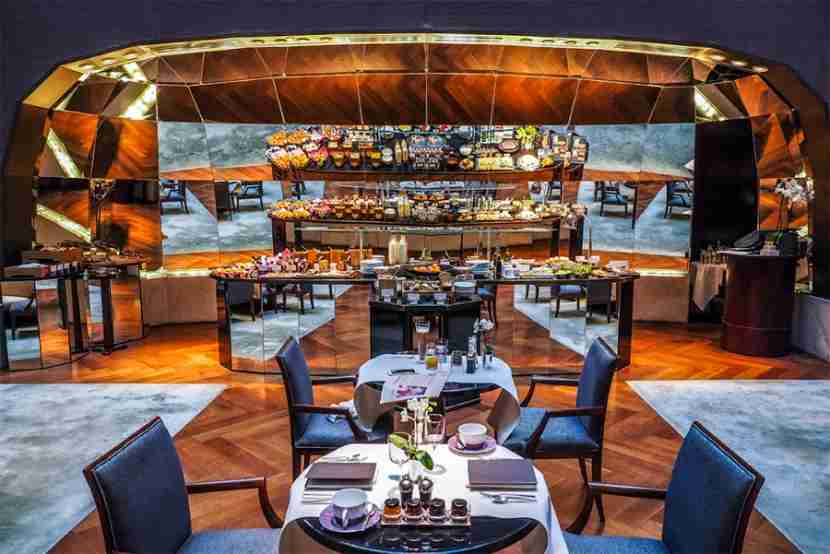 The mirrored breakfast buffet at the Park Hyatt Paris-Vendôme.