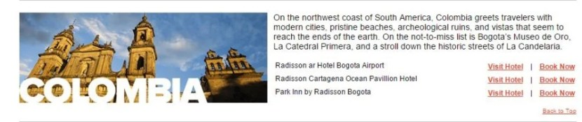 Colombia is just one of the countries participating in the 25% off award nights at Club Carlson properties