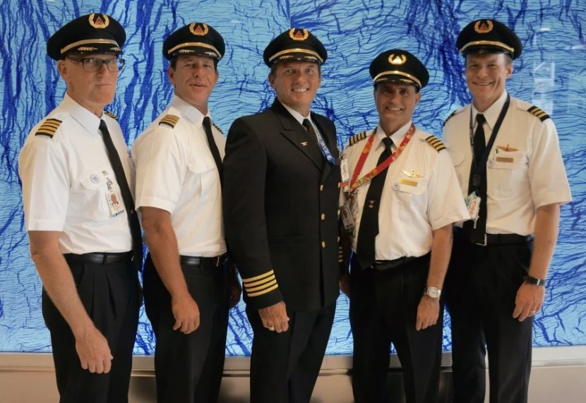 Five of Los Angeles' finest Delta pilots, front and center.