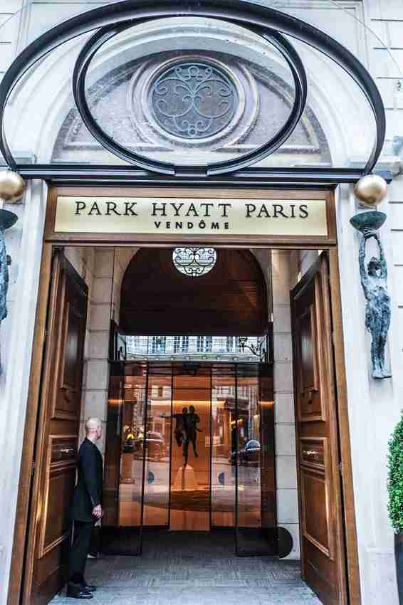 The elegant entrance to the Park Hyatt Paris-Vendôme.