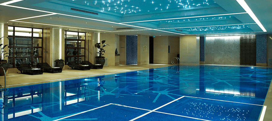 The sparkling indoor pool at the JW Marriott Shanghai Changfeng Park.