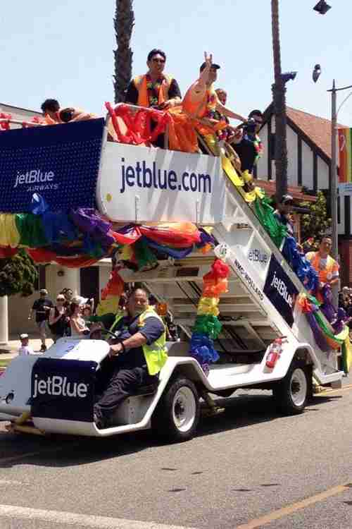 "A brilliant take on a parade float. Photo courtesy of <a href=""http://blog.jetblue.com/index.php/2012/05/22/jetblue-is-proud-to-support-long-beach-pride/"">JetBlue</a>"