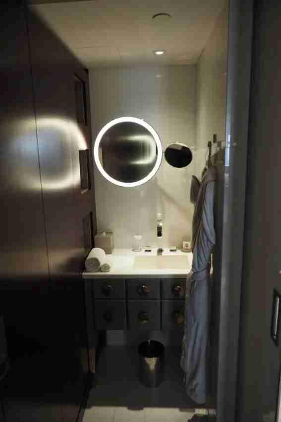A unique bathroom setup.