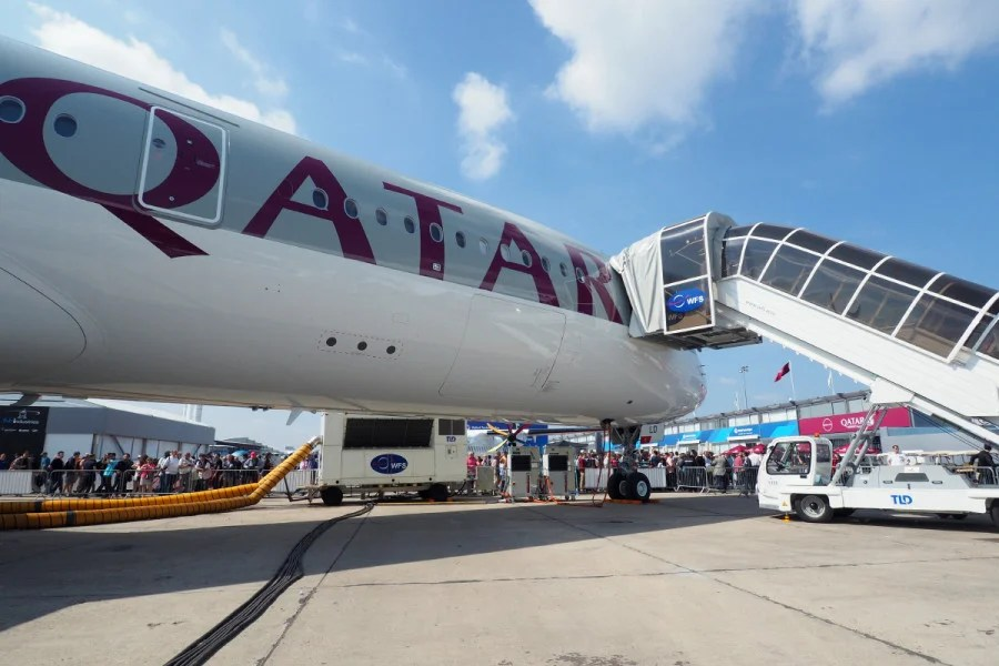 Qatar's A350 parked at the Paris Air Show.