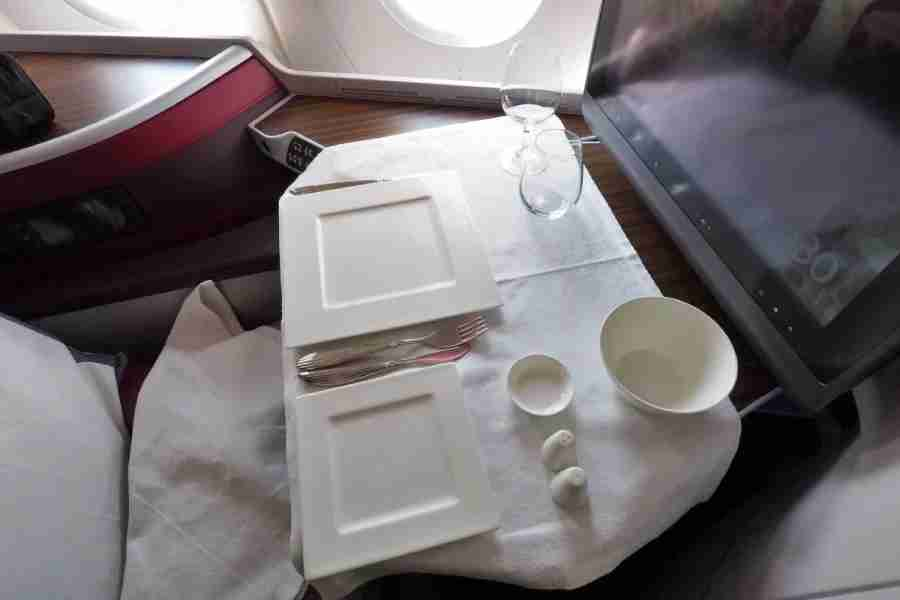Business-class meal service (without the food) on Qatar