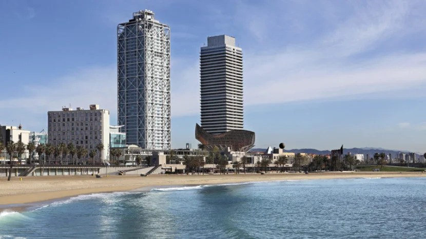 Hotel Arts Barcelona, a Ritz-Carlton property, is right on the city's shore.