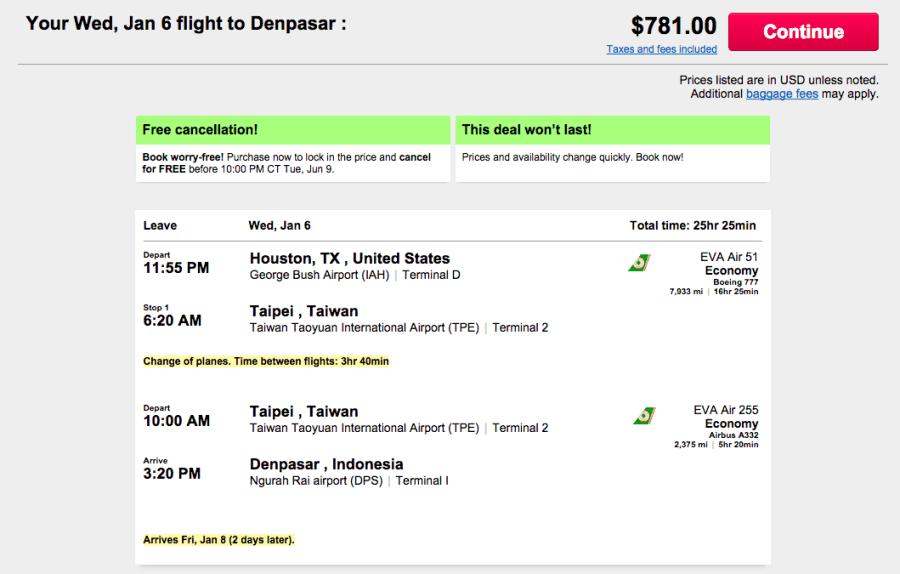 Houston (IAH)- Denpasar, Indonesia (DPS) for $781 on EVA Air.