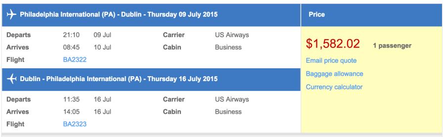 Philadelphia (PHL) to Dublin (DUB) in business class on British Airways for $1,517.