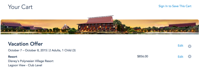 Online quote for a one-night stay at Disney's Polynesian Resort without theme park tickets.