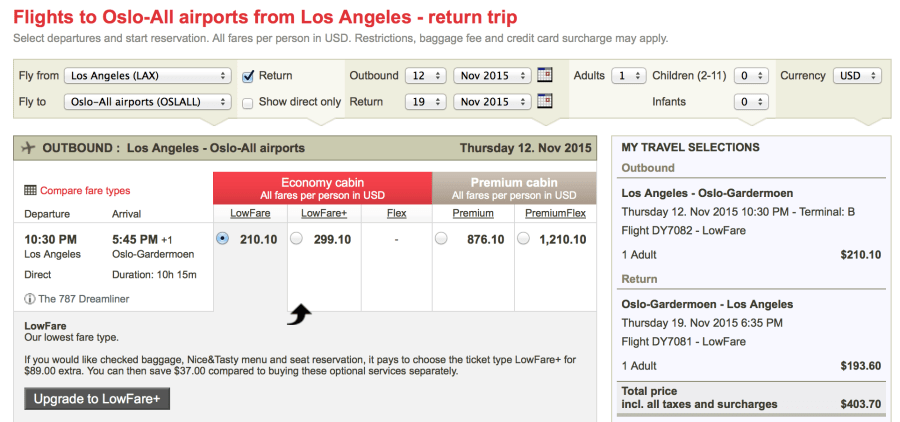 Los Angeles (LAX)-Oslo (OSL) for $441 on Norwegian: