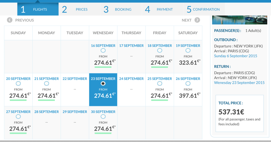 New York to Paris for 537 EUR ($603) round-trip in September.