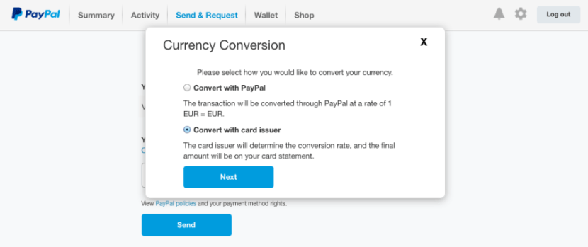 how to change currency conversion on paypal