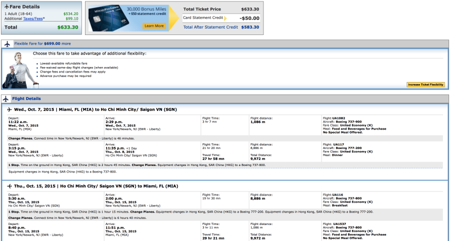 Miami to Ho Chi Minh City for $633 round-trip on United.