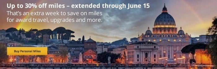 Get a discount on purchased United miles