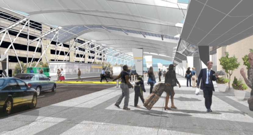The city hopes that new awnings over the curbside of the domestic terminal will help keep travelers out of the elements.