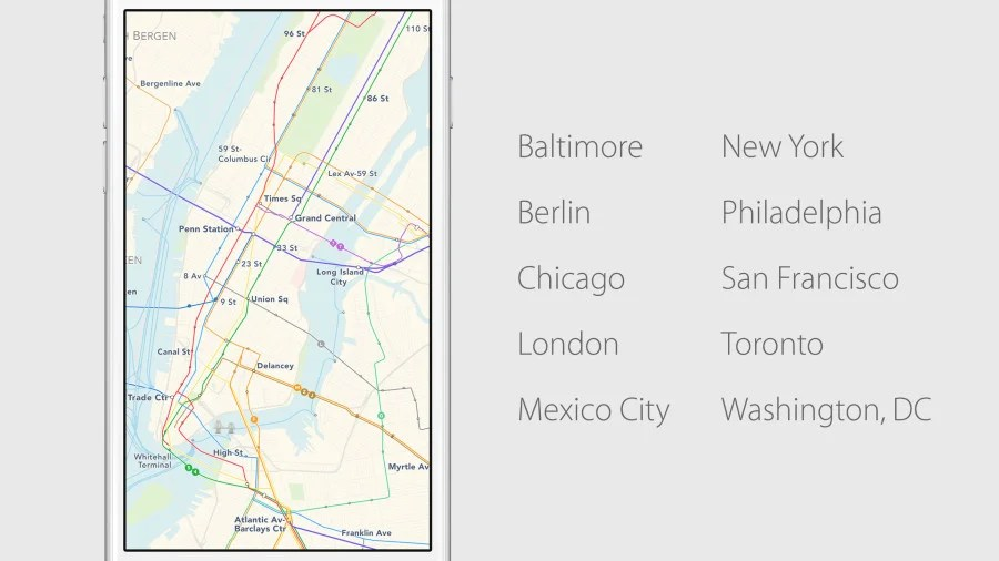 Apple's Transit in Maps is launching in these cities and hundreds more around the world.