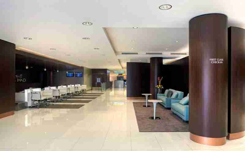 The airport features a complete private area for business and first class check in.  Courtesy ADAC