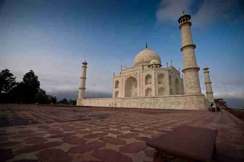 This lone bench, with a great view of the Taj Mahal, sits at the far, back right of the complex