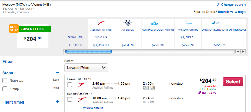 Just about $200 per person to get to Vienna this fall.