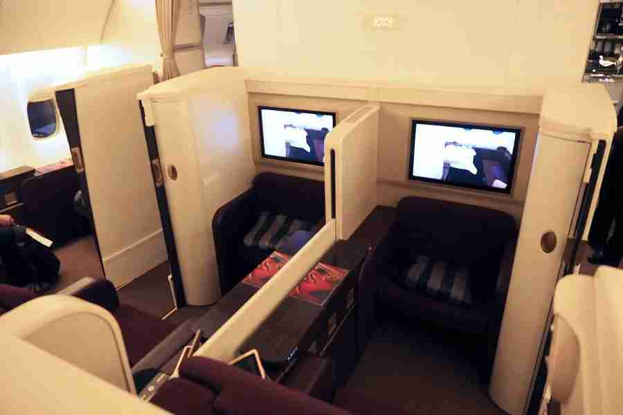 A look at the middle seats in first class.