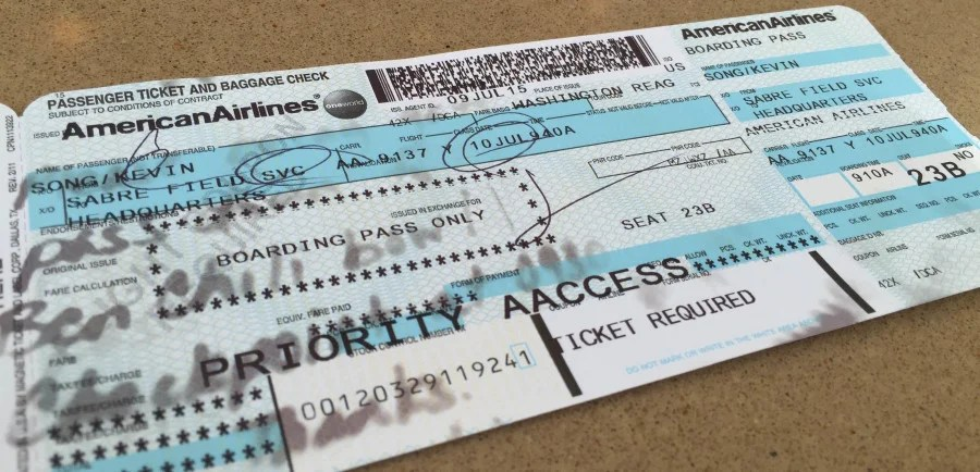 """My Admirals Club gate pass showed that I was traveling from """"Sabre Field SVC"""" to """"Headquarters""""."""