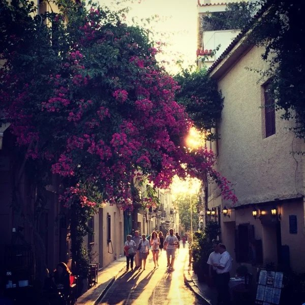 Sunset on a quiet street in Plaka, Athens' touristy center.