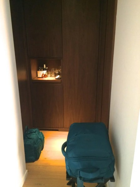 The swanky little closet nook (and my beloved Lipault luggage).