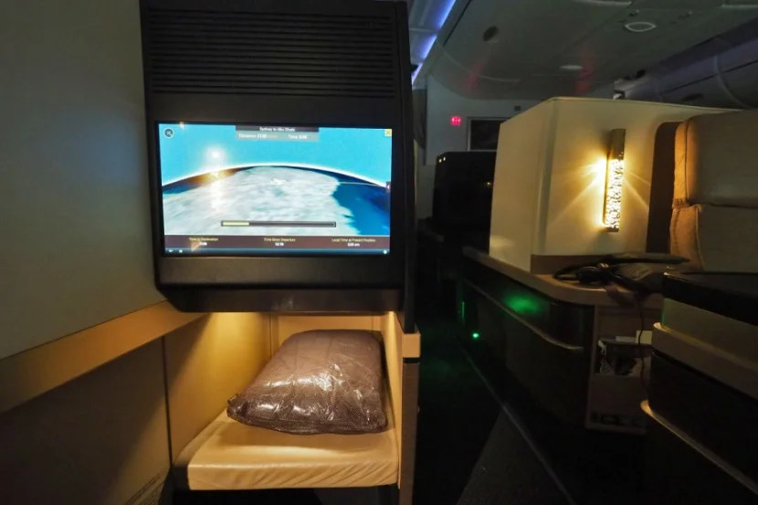 Each seat has an 18-inch touchscreen, with a separate display on the handheld remote.