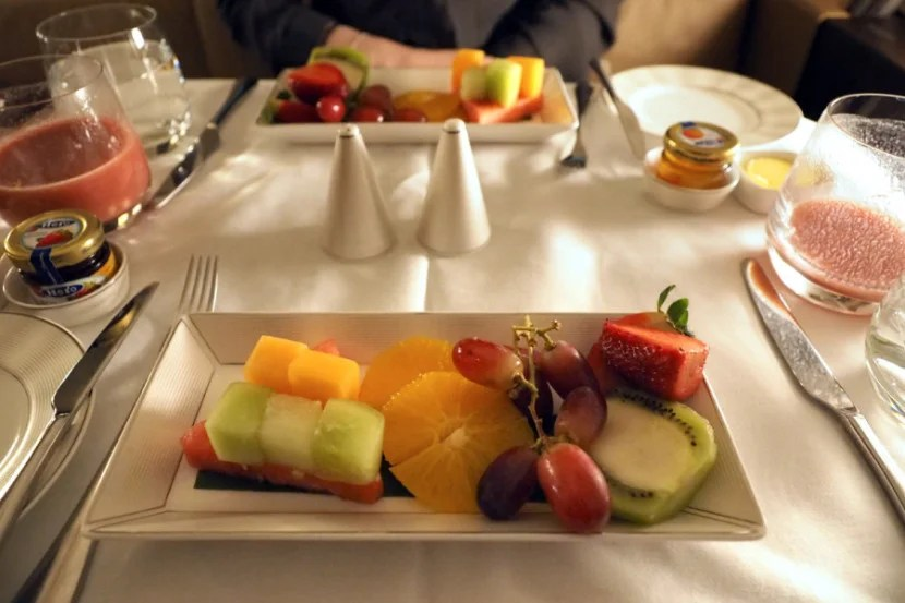 Breakfast included a starter of fresh fruit.