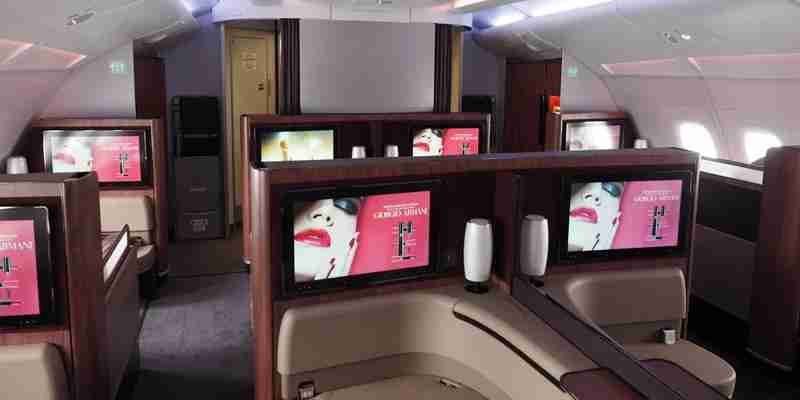 The Qatar first-class cabin — all to myself.